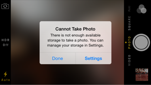 cannot take photo iPhone error